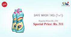 Order Online #Safe #Wash 1Kg at buy one get one free offer only on Kiraanastore.