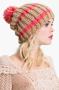nordstrom: free people chunky knit beanie..Love these colors together!.