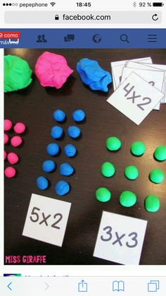 Multiplication facts are fun when there is dough involved! Have kids build their multiplication problems with dough to solve Math For Kids, Fun Math, Math Activities, Addition Activities, Second Grade Math, 4th Grade Math, 2nd Grade Math Games, Grade 2, Math Multiplication