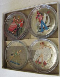 SEVEN VINTAGE GLASS COASTERS-WOMEN IN SPORTS-SWIMMING-SKI-SAIL-RIDING-DANCE