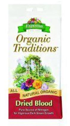 Organic Traditions Dried Blood (17 lbs) by Espoma. $37.58. DB17/13185 Features: -Plant food.-Size: 17 pound.-Safe source of organic nitrogen, which naturally produces more vigorous plants with richer, greener leaves.-Time proven remedy for sickly plants.-Ideal supplement for annuals and perennials.-Approved for organic gardening. Dimensions: -Weight: 17 lbs.-Dimensions: 3.5'' H x 14.3'' W x 20.9'' D.