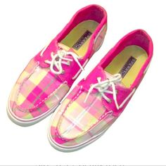 Pink Plaid Sperrys Cute Sperrys. Lightly Used. Still in great condition. Sperry Top-Sider Shoes
