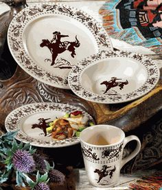 Bucking Bronco dinnerware for a cowgirl's table....I'll take a set :)