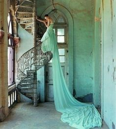Oh, my goodness. Love! The dress, the staircase, the location...gorgeous :) fairytale <3