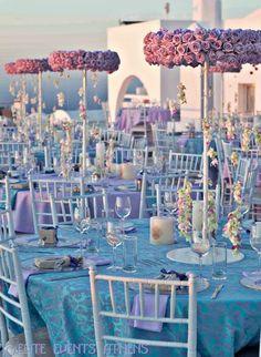 Table at a Greek Lavender Wedding #wedding #lavender