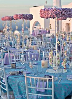 Table at a Greek Lavender Wedding #wedding #lavender