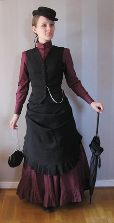 Bordeaux bustle dress by ~lill-sara on deviantART