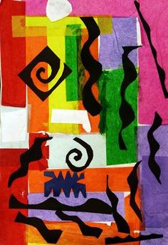 "Collage+inspired+by+Matisse's+""Beasts+of+the+Sea""+-+Artsonia+Lesson+Plan"