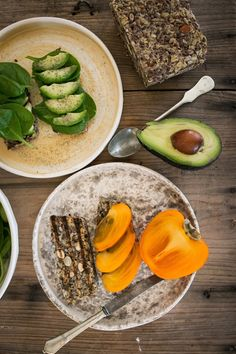 Avocado toast and persimmon toast on protein bread by Sarah Britton (gluten-free and paleo friendly)