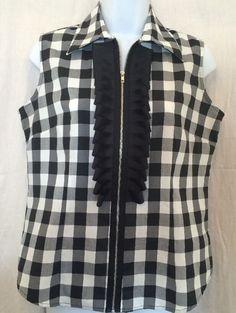 Ravel Womens Small Sleeveless Blouse Black White Check Ribbon Zipper Front Euc #Ravel #Blouse #Casual