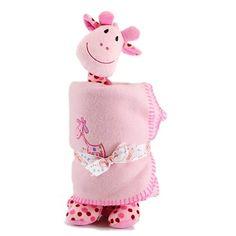 girafa de pelúcia com cobertor manta bebê fofy toys rosa