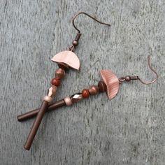 """BO """"Totem Bronze"""" capsule Nespresso, perles et bambou : Boucles d'oreille par pipit-farlouse"""