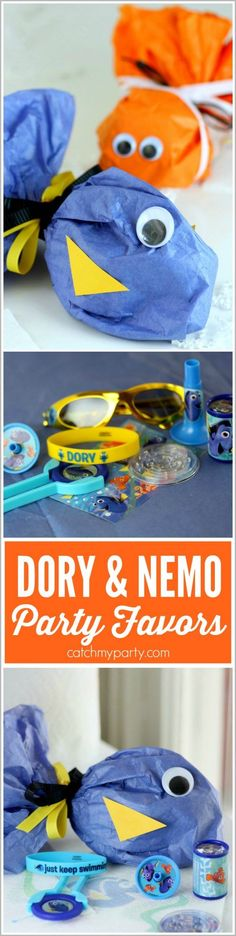 Tissue paper Finding Dory and Finding Nemo party favors. This is such an easy DIY craft, and the favors turn out so cute! | http://CatchMyParty.com (sponsored) #FindingDory