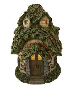 Look at this #zulilyfind! Green & White Fairy Garden Solar House Figurine #zulilyfinds