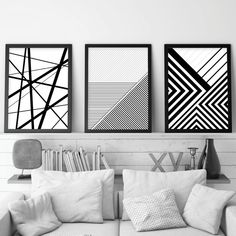 A striking set of 3 black and white geometric downloadable prints.  For the DIYer in you, instantly download your favorite artwork, take them to your local print shop or upload to an online print service, frame them in your own frames and have them on your wall ASAP! #setof3prints #printables #blackandwhite #geometricprints #monochrome #printableart #trendingnowart #downloadableprints #modernartprints #urbanepiphany