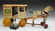 Rich Toys Bordens Horse-Drawn Milk & Cream Truck.