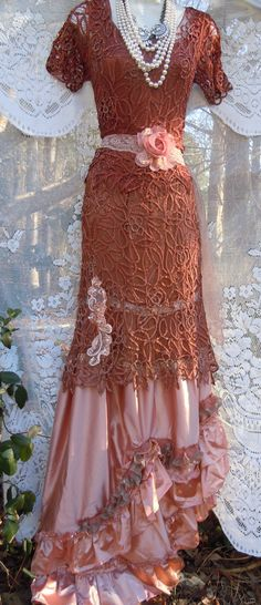 Rust crochet dress lace satin pink vintage by vintageopulence