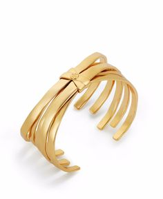 For Mother's Day: Tory Burch Wrapped Crescent Cuff in Shiny Gold
