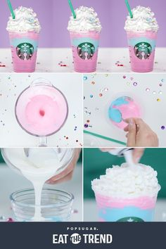 Make your own Starbucks Unicorn Frappuccino! Make your own Starbucks Unicorn Frappuccino! Starbucks Secret Menu Drinks, Starbucks Coffee, Starbucks Unicorn Frappuccino Recipe, Unicorn Drink Starbucks, Milk Shakes, Chocolate Candy Melts, Chocolate Milkshake, Hot Chocolate, Unicorn Foods