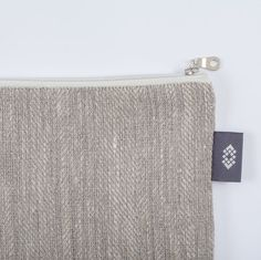 Grey Natural Linen Cosmetic Case Canvas Makeup Bag by ThingStore