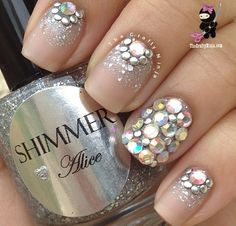 Matte clear nails with rhinestones
