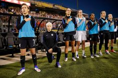 Megan Rapinoe during the national anthem before a game against Thailand in Columbus, Ohio, on Sept. 15, 2016. (Kyle Robertson/AP)