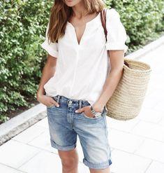 jean shorts + rolled sleeve tee + woven bag summah uniform...