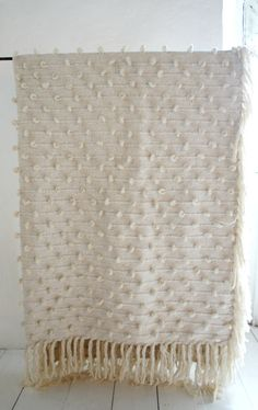 Mexchic's Hand Woven Wool and Cotton Cream Mexican Blanket 'Palomita' www.mexchic.co