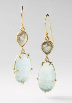 Margery Hirschey Aquamarine & Grey Diamond Earrings