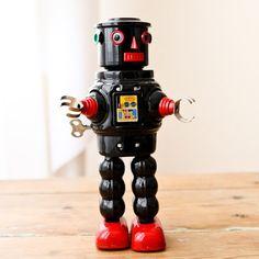 Robot Vintage Robot Roby noir Metal Robot, I Robot, Robots Vintage, Vintage Toys, Classic Ro, Atomic Age, To Infinity And Beyond, Tin Toys, Retro Futurism