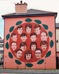 The mural contains portraits of the 14 people who were killed by the British Army on 'Bloody Sunday' in Londonderry on 30 January 1972.