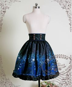 Time Lord, Cyber Gothic High Waist Skirt in blue/black. I can't decide on this or the JSK (jumperskirt) Goth Skirt, Steampunk Skirt, Steampunk Clothing, Lolita Mode, Estilo Lolita, Diy Clothes, Clothes For Women, Lolita Cosplay, High Waisted Skirt