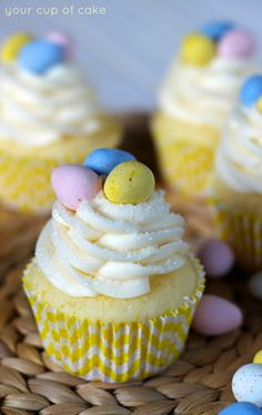 Lemon Mascarpone Cupcakes...with Lemon Mascarpone Filling and Cream Cheese Frosting...mini Cadbury Eggs for decoration...uses a  white cake mix