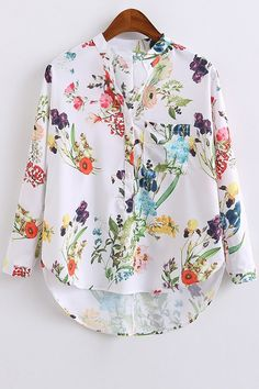 High Low Hem Stand Collar Floral Print Blouse