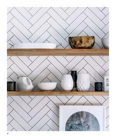 ISSUU - Adore Aug Sep 2015 by Adore Home magazine. Herringbone splashback kitchen tiling plus open shelves