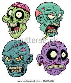 stock vector : Four cartoon zombie heads. All in separate layers for easy…