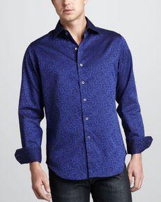 Robert Graham Latching Scrollwork Sport Shirt - Neiman Marcus