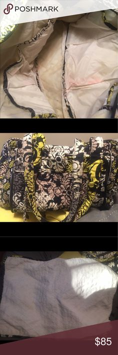 Vera Bradley diaper bag Vera Bradley diaper bag with detachable changing pad black yellow and white print stain on inside as pictured Vera Bradley Bags Baby Bags