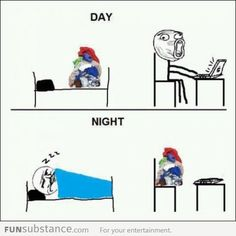 Day and night funny memes meme funny quote funny quotes humor humor quotes funny pictures best memes popular memes Wtf Funny, Crazy Funny Memes, Funny Jokes, Rage Comics, Funny Comics, Funny Images, Best Funny Pictures, Hilarious Photos, Videos Funny