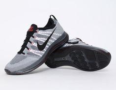 #Nike #Flyknit Lunar 1+ Grey Red #Sneakers