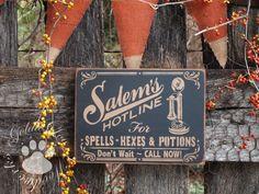 ETSY HALLOWEEN SIGNS | Salem Hot Line, Primitive Halloween Sign on Etsy, ... | Falling Leaves