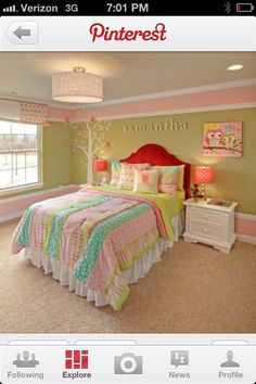Adorable  little girl's bedroom...love the BIG stripes across top and bottom!