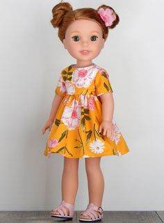 inch Doll Clothes-Yellow Floral Dress fits like Wellie Wishers Doll, Doll Clothes, 14 inch Doll Dress, Wellie Wisher Doll Clothes American Girl Clothes, Girl Doll Clothes, Doll Clothes Patterns, Clothing Patterns, Poodle Skirt Outfit, Wellie Wishers Dolls, Yellow Floral Dress, Everyday Dresses, Girl Outfits