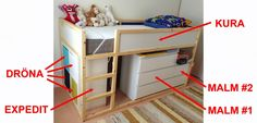 I've seen quite a few IKEA KURA bed with chest of drawers beneath it. Here are 5 ways to add storage under the IKEA KURA bed, from drawers to open units. Kura Ikea, Kura Bed Hack, Ikea Kids, Furniture Outlet, Discount Furniture, Furniture Online, Furniture Stores, Ikea Garden Furniture, Furniture Movers