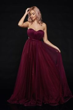 Ana Radu burgundy occasional net dress push-up cups Tulle Bows, Strapless Dress Formal, Formal Dresses, Fabric Textures, Nasa, Push Up, Corset, Ball Gowns, Burgundy