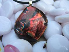 Fused Dichroic Glass Pendant Necklace Volcanic, Copper, Gold and Black