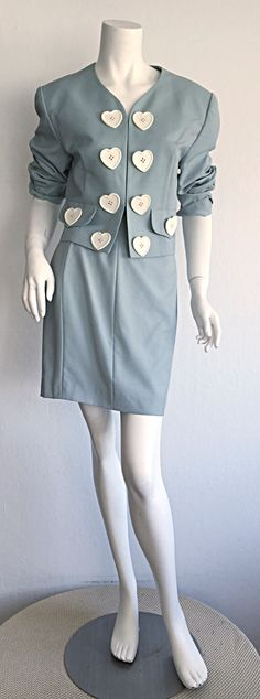 90's Incredible Vintage Moschino Cheap & Chic Light Blue Iconic ' Hearts ' Skirt Suit 3
