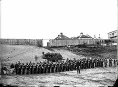 Soldiers from the A and C companies of the 18th Royal Irish Regiment on parade at the Rutland Stockade Wanganui, 1860