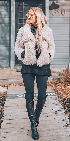 #winter #outfits white fur coat and black sweater