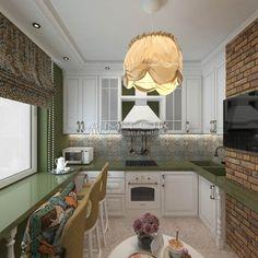 Кухня в стиле лофт с жаккардовыми тканями в интерьере.